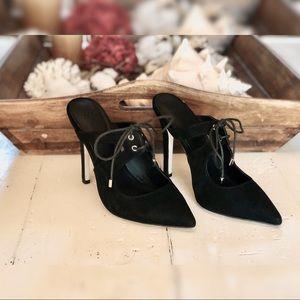 ASOS Black Lace-Up Spike Heel Mule Slide Size US 6